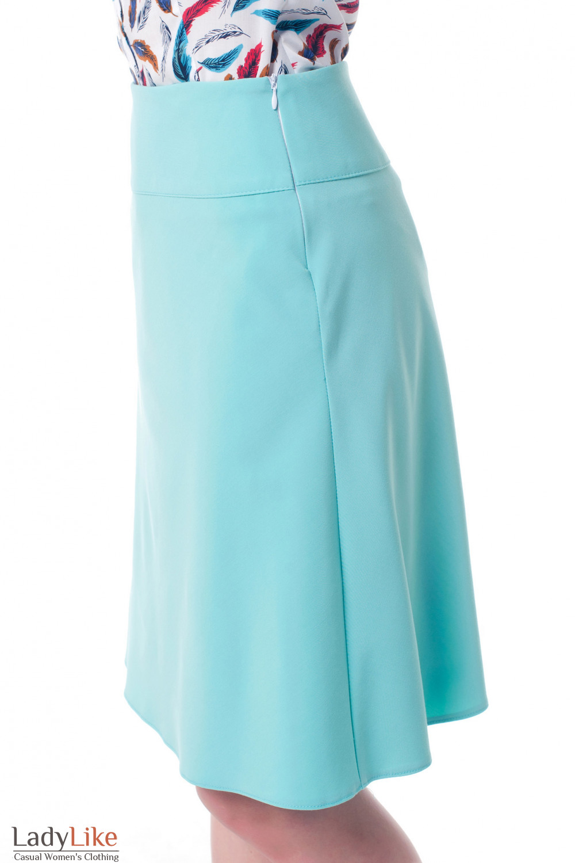 Купить юбку-трапецию бирюзовую Деловая женская одежда фото