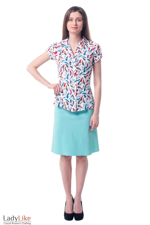 Купить юбку бирюзового цвета Деловая женская одежда фото