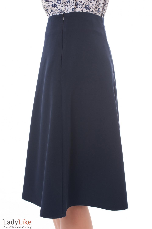Купить юбку-трапецию синего цвета Деловая женская одежда фото