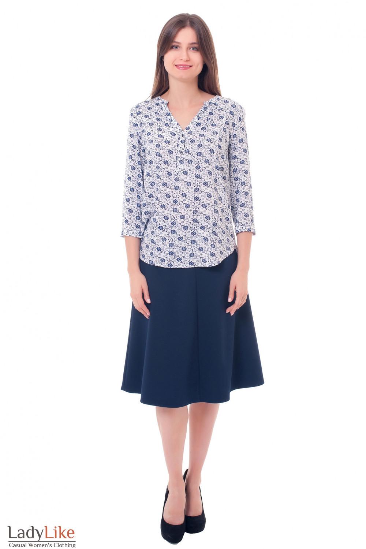 Синяя юбка миди Деловая женская одежда фото