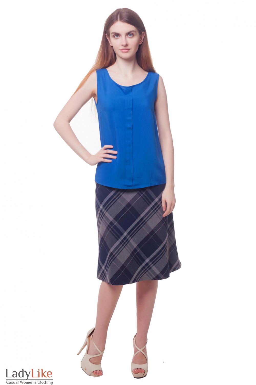 Купить юбку в синюю клетку Деловая женская одежда фото