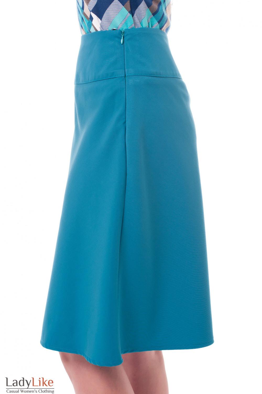 Купить юбка-трапецию зеленого цвета Деловая женская одежда фото
