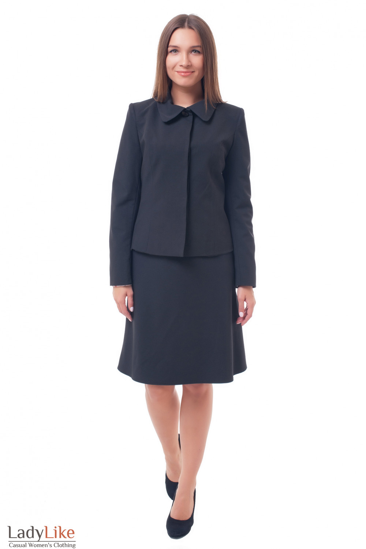Купить черный костюм с юбкой Деловая женская одежда фото