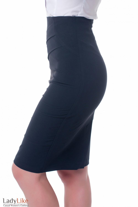 Купить черную юбку с высокой талией Деловая женская одежда фото