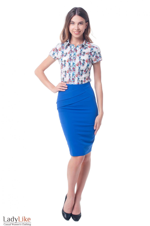 Купить высокую юбку индиго с косыми складками Деловая женская одежда фото