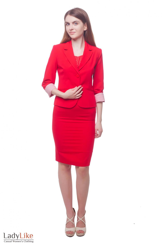 Купить красный деловой костюм Деловая женская одежда фото