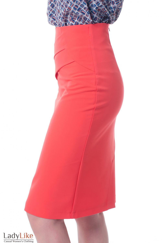 Купить коралловую юбку с высокой талией Деловая женская одежда фото