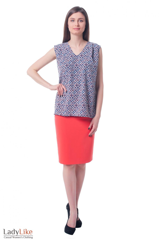 Купить юбку коралловую со складками и высокой талией Деловая женская одежда фото