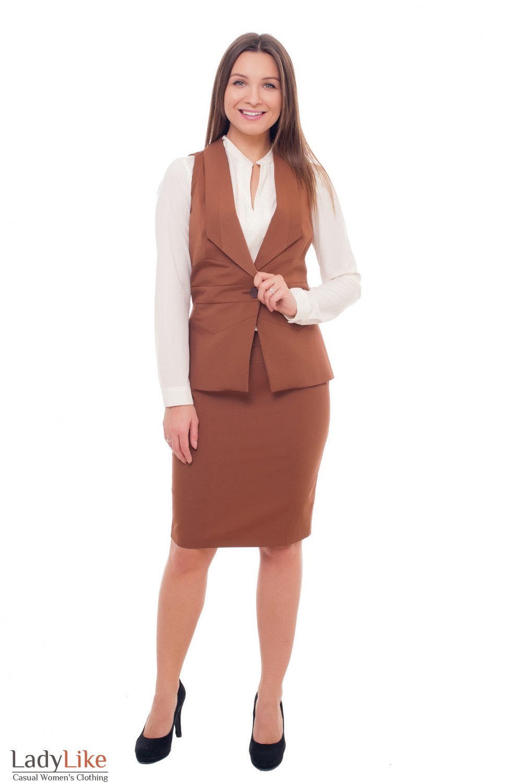 Купить коричневый женский костюм Деловая женская одежда фото