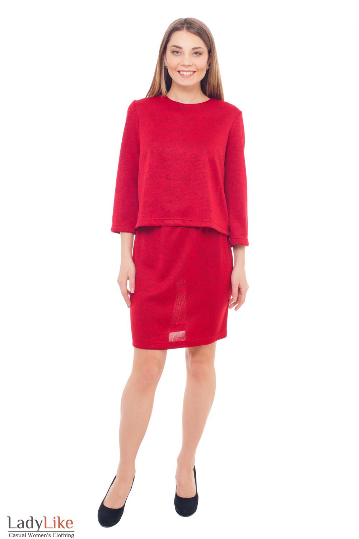 Купить красный трикотажный костюм Деловая женская одежда фото