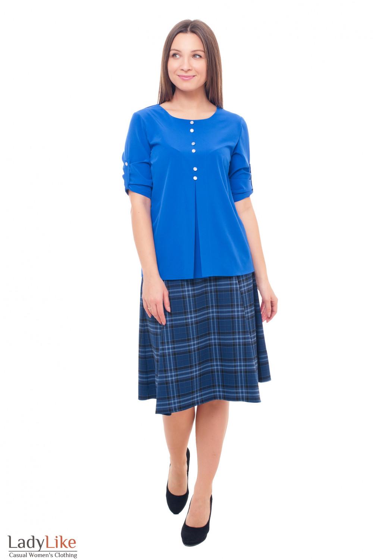 Купить юбку-миди в синюю клетку Деловая женская одежда фото