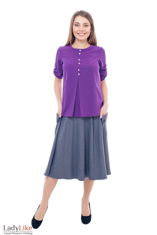 Купить серую юбку в лапку с накладными карманами Деловая женская одежда фото