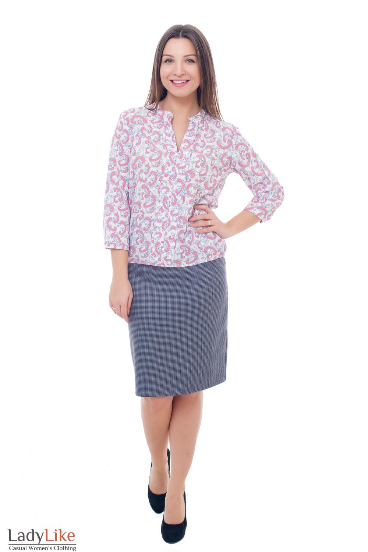 Купить серую юбку в мелкую бордовую лапку Деловая женская одежда фото