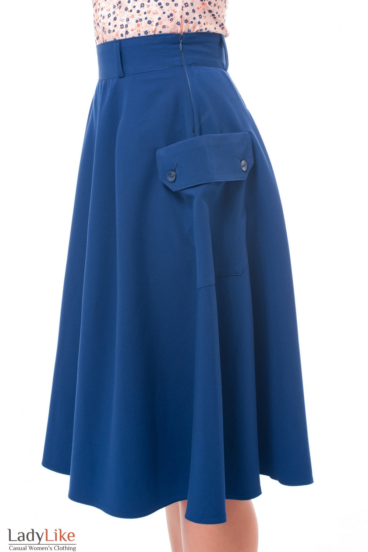 Купить юбку синюю с боковыми накладными карманами Деловая женская одежда фото