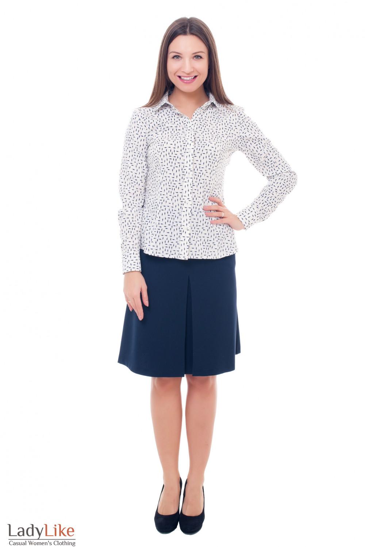 Купить синюю теплую юбку с карманами Деловая женская одежда фото