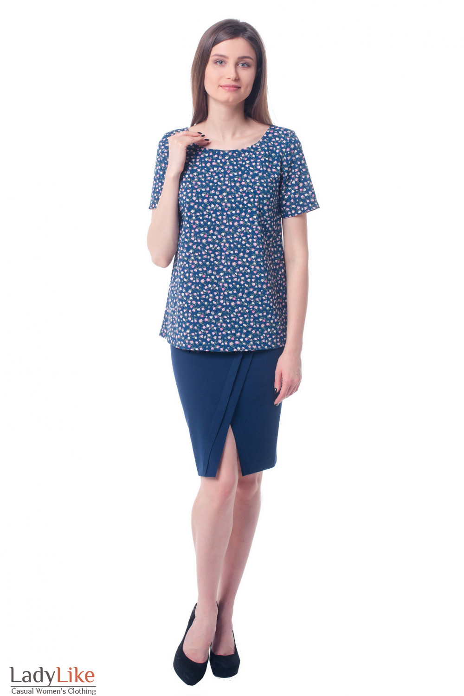 Купить юбку синюю с косыми складками Деловая женская одежда фото