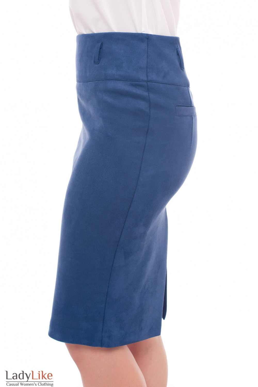 Купить теплую юбку из синего замша Деловая женская одежда фото