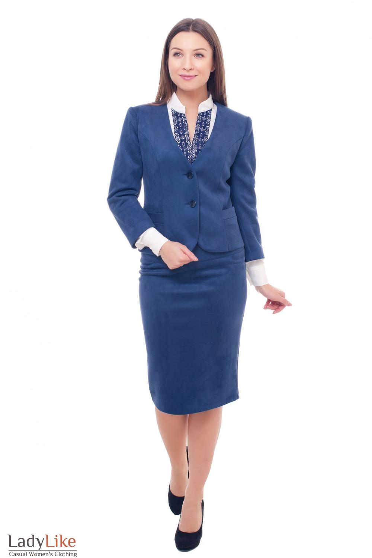 Купить замшевый синий костюм Деловая женская одежда фото