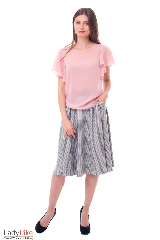 Купить пышную теплую юбку в клетку Деловая женская одежда фото
