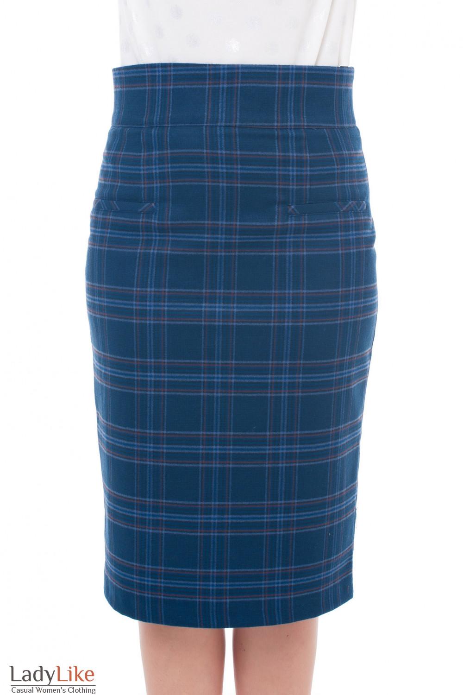 Юбка теплая в крупную синюю клетку Деловая женская одежда фото