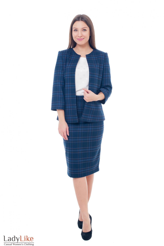 Купить синий теплый женский костюм Деловая женская одежда фото