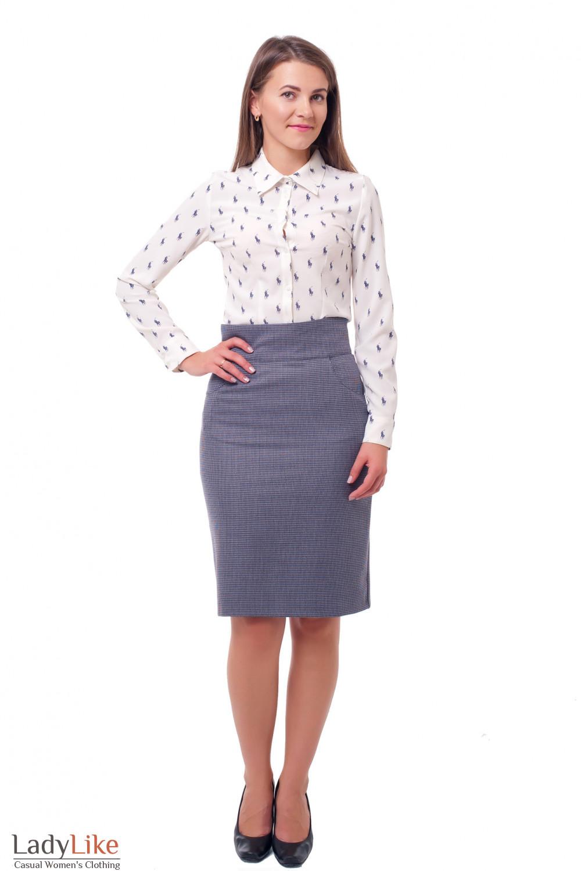 Купить юбку с завышенной талией Деловая женская одежда фото