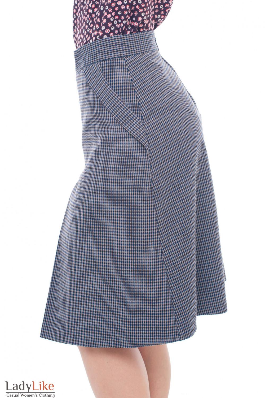Купить теплую клетчятую юбку Деловая женская одежда фото