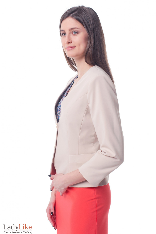 Купить жакет бежевый без воротника Деловая женская одежда фото