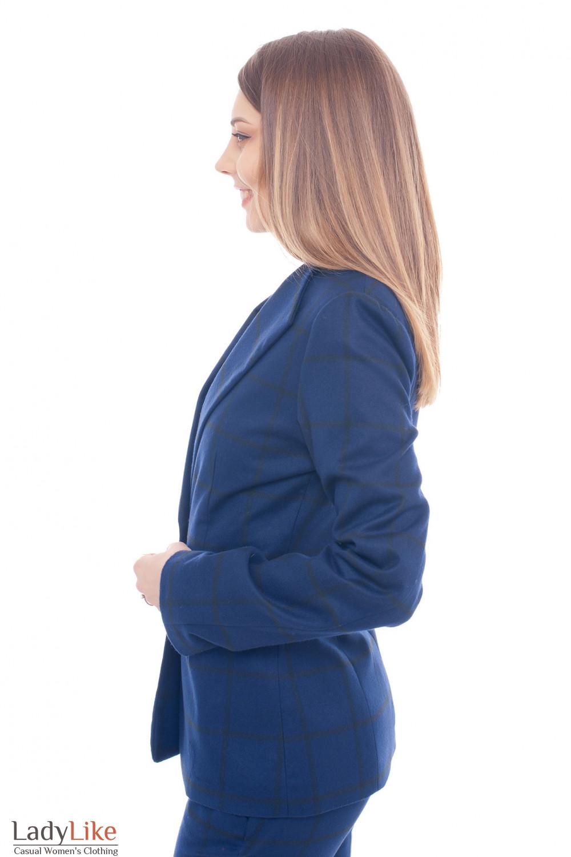 Купить синий теплый жакет в черную клетку Деловая женская одежда фото