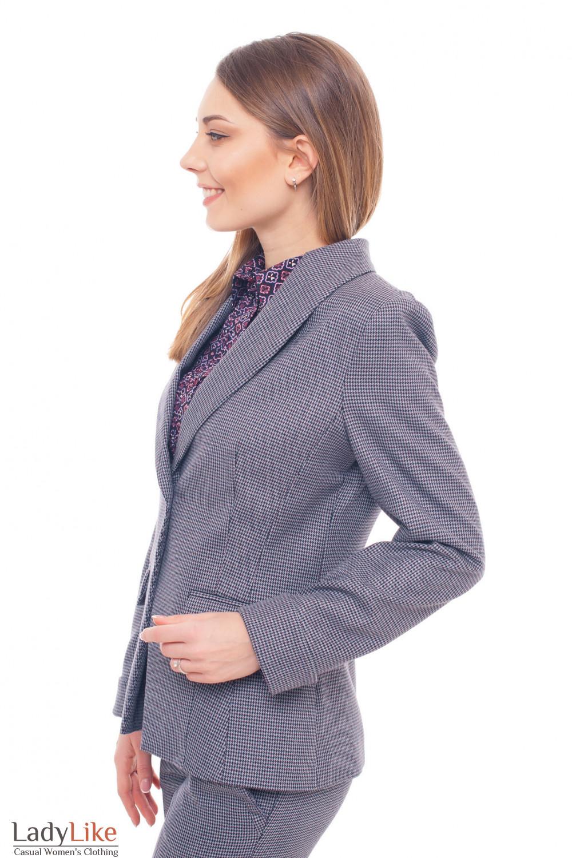 Купить жакет удлиненный в бордовую лапку Деловая женская одежда фото