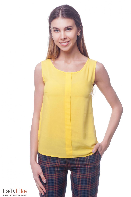 Желтый топ с бантовой складкой впереди Деловая женская одежда