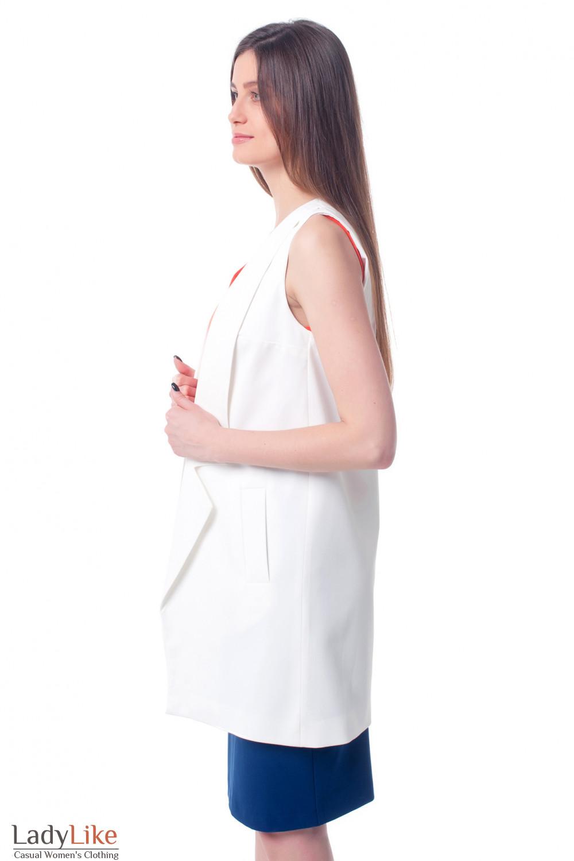Купить жилет белый женский удлиненный Деловая женская одежда фото