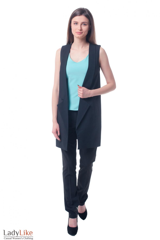 Купить длинный черный жилет Деловая женская одежда фото