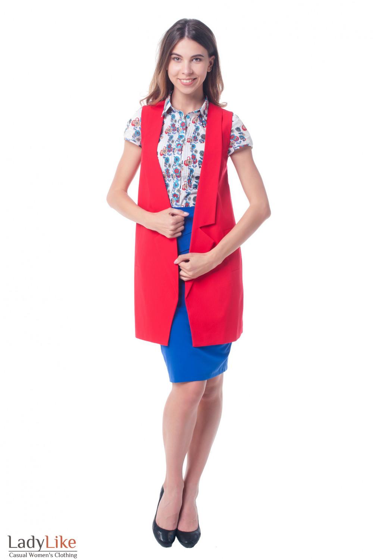9fb1d6e8f3c5 ... Купить жилет красный женский удлиненный Деловая женская одежда фото ...
