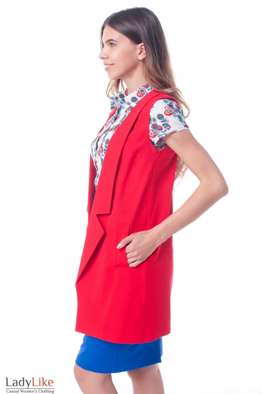 8918f478ce64 ... Купить жилет красный удлиненный Деловая женская одежда фото ...