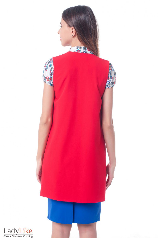 d2b85c85c4dd ... Купить жилет красный удлиненный Деловая женская одежда фото Деловая  женская одежда фото