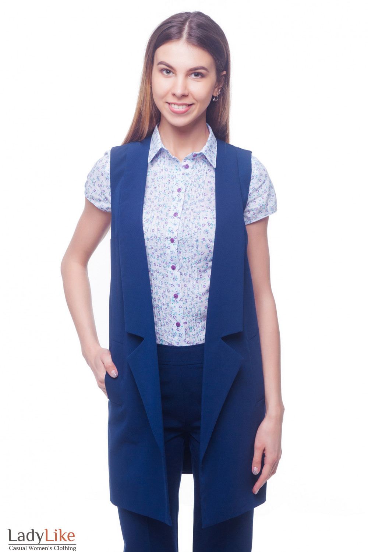 Жилет синий удлиненный с карманами Деловая женская одежда