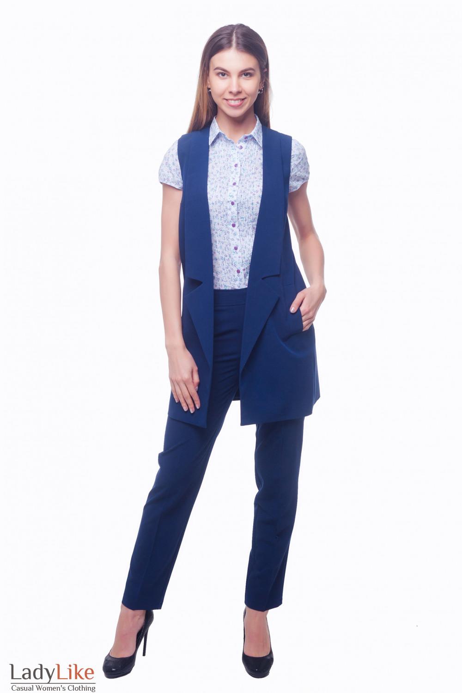 Купить жилет синий длинный с карманами Деловая женская одежда