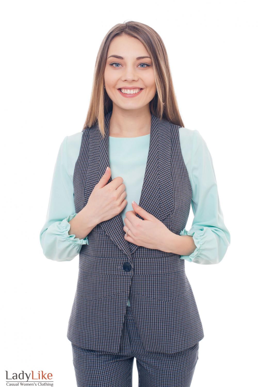 Жилет удлиненный тёплый в коричневую полоску Деловая женская одежда фото