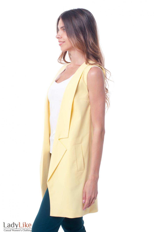 Купить жилет желтый женский удлиненный Деловая женская одежда фото