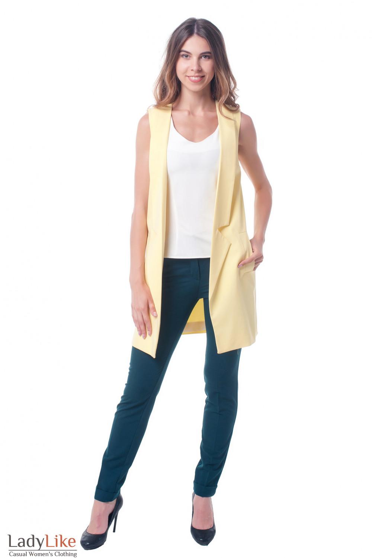 Желтый удлиненный женский жилет Деловая женская одежда фото