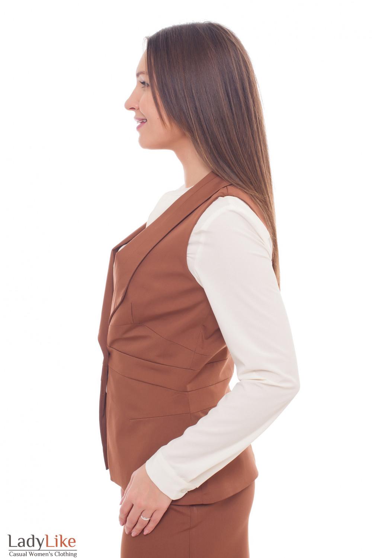 Купить женские коричневый жилет Деловая женская одежда фото