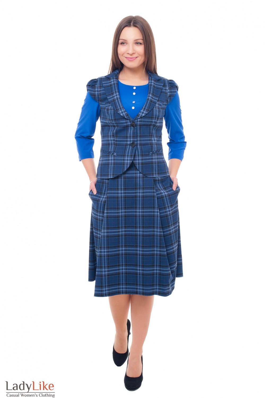 Купить клетчатый женский костюм с жилеткой Деловая женская одежда фото