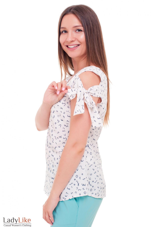 Купить блузку белую с завязками на плечах Деловая женская одежда фото