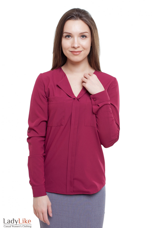 Блузка цвета марсала (бордо) Деловая женская одежда фото