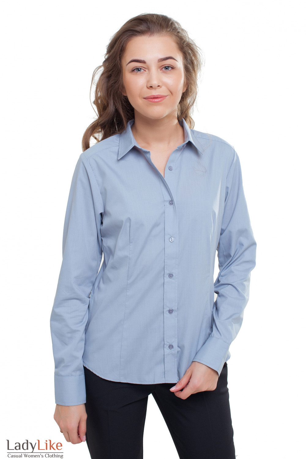 Блузка классическая серая с длинным рукавом Деловая женская одежда фото