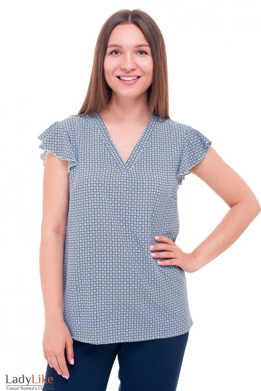 Блузка молочная в колесики Деловая женская одежда фото