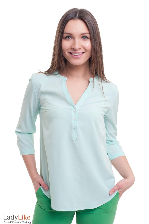 Блузка мятного цвета с планкой Деловая женская одежда фото