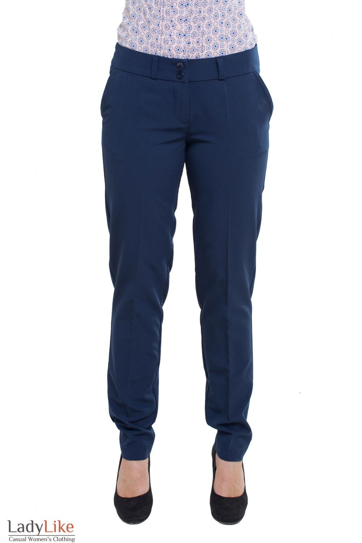 Брюки классические синие зауженные Деловая женская одежда фото