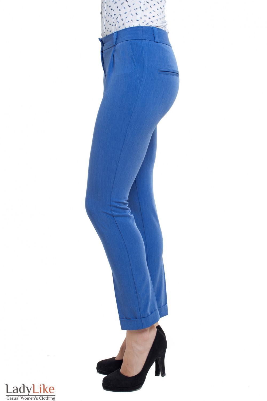 Брюки голубые Деловая женская одежда фото